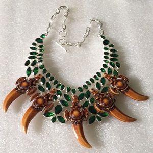 925 faced chrome &bone necklace
